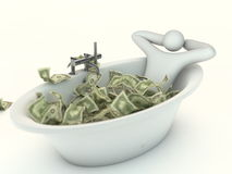 Abstract millionaire and money bath Stock Image