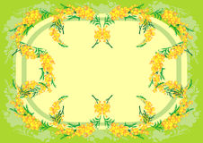 Abstract mimosa frame. Illustration of abstract frame from mimosa branches with background vector illustration