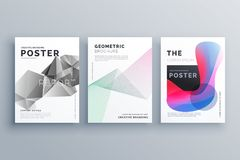 Abstract minimal brochure design template size A4 in lines, geom. Etric shapes and fluid colors style Royalty Free Stock Image