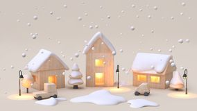 abstract minimal cream background snow winter new year concept wood toy town-village cartoon style 3d render vector illustration