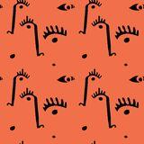 Abstract minimal faces. Seamless modern pattern with eyes and noses vector illustration