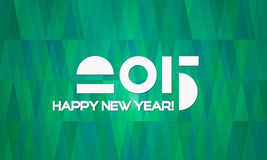 Abstract Minimalistic Happy New Year 2015 Banner. Abstract Happy New Year 2015 Banner with Green Geometric Christmas Trees Background Royalty Free Stock Photography