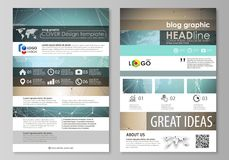 The abstract minimalistic vector illustration of the editable layout of two modern blog graphic pages mockup design. Templates. Chemistry pattern with molecule royalty free illustration