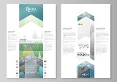 The abstract minimalistic vector illustration of the editable layout of two modern blog graphic pages mockup design. Templates. Rows of colored diagram with Royalty Free Stock Photo
