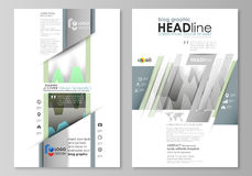The abstract minimalistic vector illustration of the editable layout of two modern blog graphic pages mockup design. Templates. Rows of colored diagram with Stock Photography