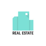 Abstract mint real estate logo. Concept of luxury, factory, eco, urban mansion, elite residence, visual identity. isolated on white background. flat style Stock Images