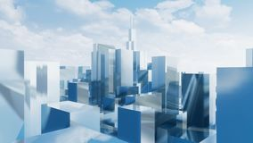 Abstract mirror 3D city skyscrapers Chicago 4K royalty free illustration
