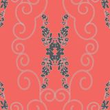 ABSTRACT MIRRORED ROSES AND CHAIN SPIRALS PATTERN royalty free illustration