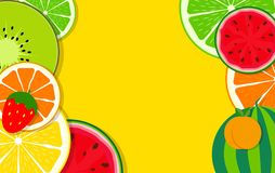 Abstract Mixed Flat Fruit Background Vector Illustration. EPS10 royalty free illustration