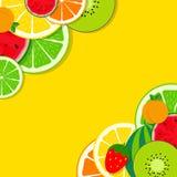 Abstract Mixed Flat Fruit Background Vector Illustration. EPS10 stock illustration