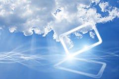 Abstract mobiel apparaat in hemel met wolken royalty-vrije illustratie