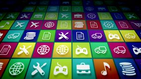 Abstract Mobile Application Icons. An ultramodern 3d illustration of innovative mobile application icons on a pc screen placed aslant. The icons are colorful and Royalty Free Stock Photo
