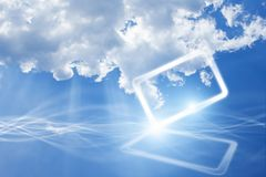 Abstract mobile device in sky with clouds Stock Photos