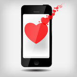 Abstract mobile phone with hearts vector Royalty Free Stock Images