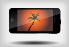 Abstract mobile phone with summer background and. Palm tree vector illustration Royalty Free Stock Image
