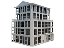 Abstract model of five storey building. On white background Stock Photo