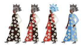 Abstract models african females in paisley metallic helmets and dresses with floral prints. Fashion week. Logo women shop Royalty Free Stock Photo