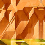 Abstract modern architectural features with orange blocks. Orange and yellow background with lines and prisms resembling modern architectural features. 3d Stock Photography
