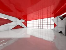 Abstract modern architecture background, empty open space interi. Or. 3D rendering Royalty Free Stock Image
