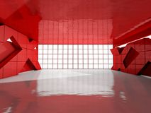 Abstract modern architecture background, empty open space interi. Or. 3D rendering Stock Illustration