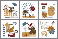 Abstract modern art style autumn fall hand drawn textured cards Royalty Free Stock Photography