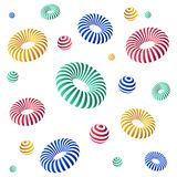 Abstract modern background decorative with striped 3d torus. Isolated on white background, vector illustration Stock Image