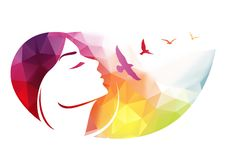 Abstract modern background with woman face. Stock Photography