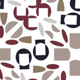 Abstract modern beige, red and indigo seameless pattern. Great for invitations, fabric, wallpaper, giftwrap. Surface pattern design stock illustration