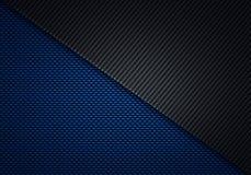 Abstract modern blue black carbon fiber textured material design Stock Photos