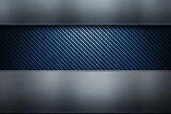 Blue carbon fiber with metal texture. Abstract modern blue carbon fiber with polished metal plates. Textured material design for background, wallpaper, graphic stock illustration