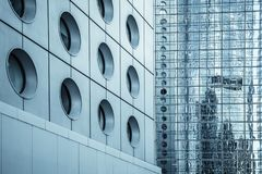 Abstract modern business architecture photo. Abstract modern business architecture background, walls with reflections Royalty Free Stock Photography