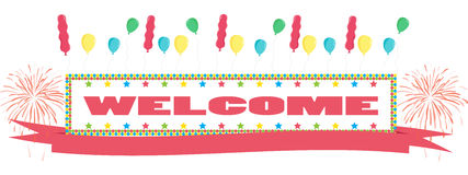 Welcome text with balloon and fireworks Greeting Card banner Stock Image