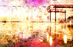 Abstract Modern City Background in color. By night Royalty Free Stock Photography