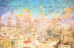 Abstract Modern City Background in color. By night Royalty Free Stock Photo