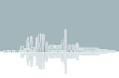 Abstract modern cityscape skyline. Blue toned vector illustration