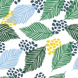 Abstract Modern Contemporary Art Style Vector Illustration. Floral Collage Seamless Pattern. Royalty Free Stock Photos