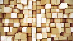 Abstract modern cubic background. Orange cube motion 3D illustration. Abstract modern cubic surface 3D illustration. Bright orange voxel grid particle blocks stock illustration