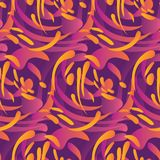 Abstract modern curve forms seamless pattern. Concept bio liquid shapes repeatable motif in purple and orange color Stock Images