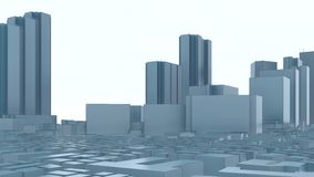 Abstract modern 3D city Tokyo skyscrapers 4K stock illustration