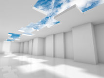 Abstract modern 3d interior design with sky. Abstract modern interior design with corners and cloudy sky outside. Architecture background, 3d render illustration Stock Photo
