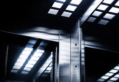 Abstract modern dark steel interior fragment Royalty Free Stock Images