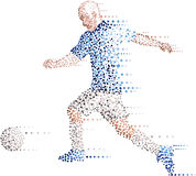 Abstract modern dots football soccer player, kick the ball Royalty Free Stock Photography