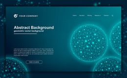 Abstract, modern dynamic background for your landing page design. Technology, science, futuristic background for for website stock illustration