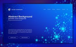 Abstract, modern dynamic background for your landing page design. Technology, science, futuristic background for for website royalty free illustration