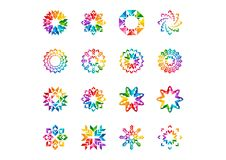 Abstract modern elements logo, circle rainbow flowers, Set of round floral,stars,arrows and sun symbol icon vector designs. Abstract modern elements logotype Royalty Free Stock Photos