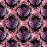 Abstract modern floral seamless pattern. Black pink halftone vec. Tor background wallpaper illustration with surface 3d line art tracery striped purple violet stock illustration