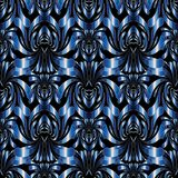Abstract modern floral seamless pattern. Black vector background. With blue hand drawn flowers, leaves, damask ornaments. Shiny design with shadows and Vector Illustration
