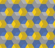 Seamless geometric hexagonal pattern in yellow and blue color. Abstract modern geometric seamless pattern with yellow, gray and blue hexagons Royalty Free Stock Images
