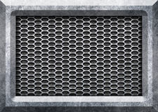 Abstract modern grey perforated metal plate with polished, 3d, i. Silver label on circle mesh design modern , 3d, illustration Royalty Free Stock Images