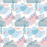 Abstract hand drawn vector seamless pattern background stock illustration